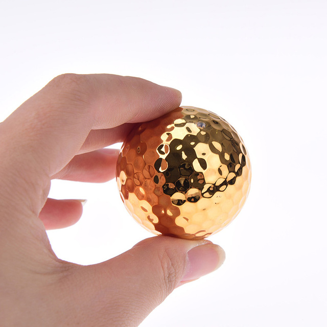 1Pc/2Pcs Plated Golf Ball Fancy Match Opening Goal Best Gift Durable Construction For Sporting Events Dia About 42.7mm