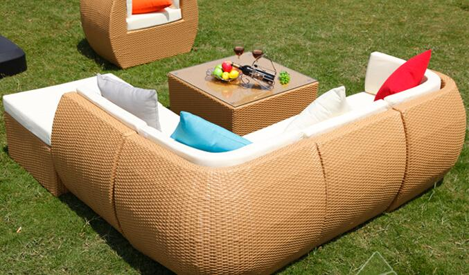 Rattan Outdoor Sofa Set 6 Seat Garden Furniture With Table Chiar Wicker Patio Hfa011 In Sofas From On