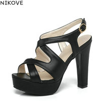 NIKOVE 2017 Summer Women Shoes Soft PU All Match Thick High Heel Woman Pumps Sexy Peep Toe Gladiator Dating Shoes Size 34-43