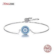 TONGZHE 925 Sterling Silver Women Bracelet Jewelry Blue Stone CZ Charm Evil Eye Barcelet Ladies Bracelets For Women Turkey Boho
