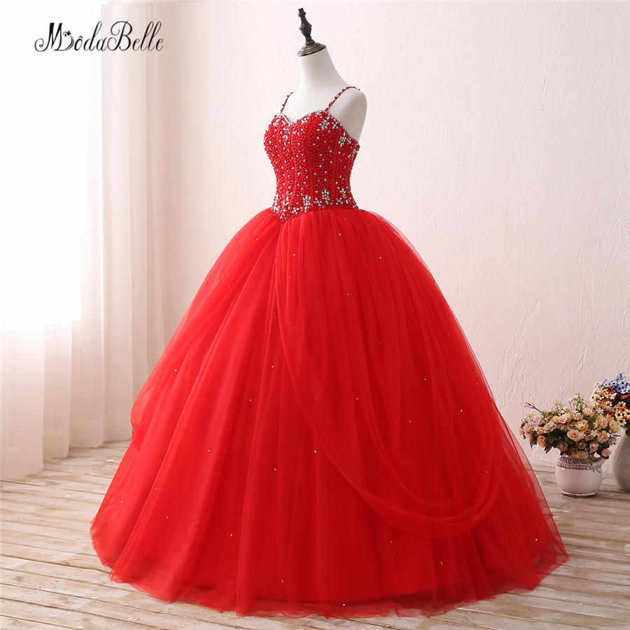 Modabelle Pearl Sequins Red Organza Quinceanera Dresses