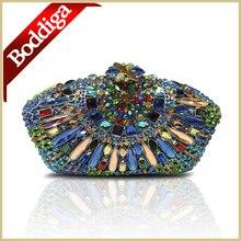 Mode Bohemian designer kupplung berühmte marke frauen handtasche partei kristall abend kupplung Dame Frauen Blau abendtasche