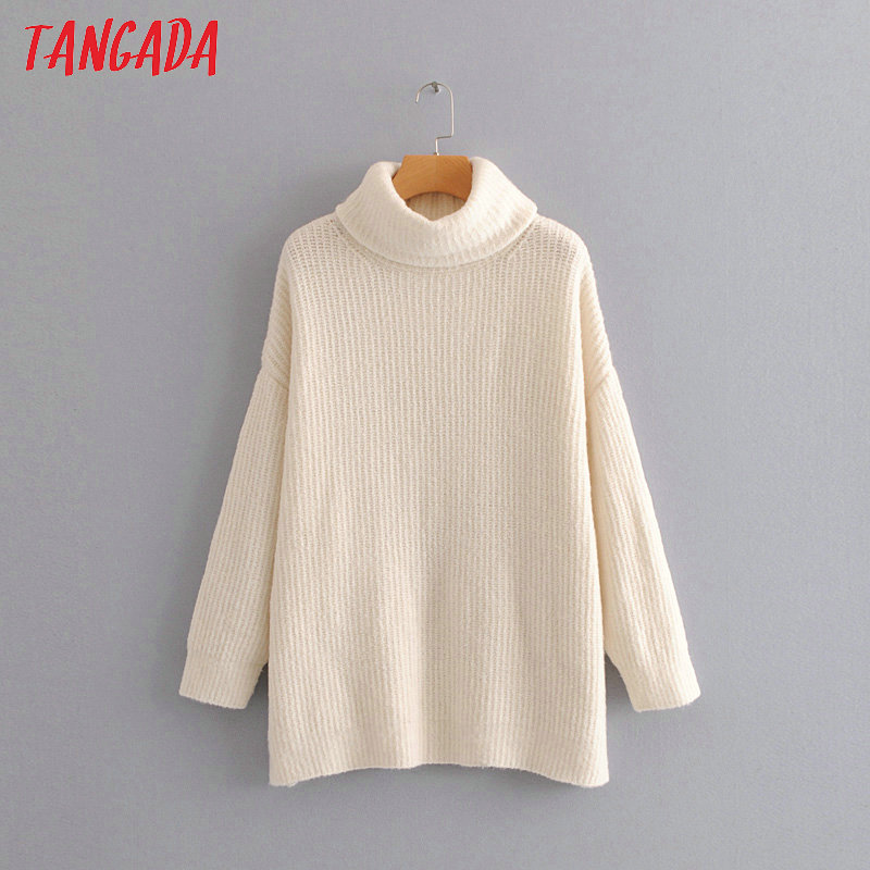 Tangada women jumpers turtleneck sweaters oversize winter fashion 19 long sweater coat batwing sleeve christmas sweate HY135 23
