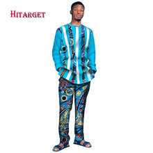 2019 tracksuit men Autumn Mens African Clothing dashiki Tshirt and Pant 2 Pieces Mensclothe Cotton Plus Size WYN386