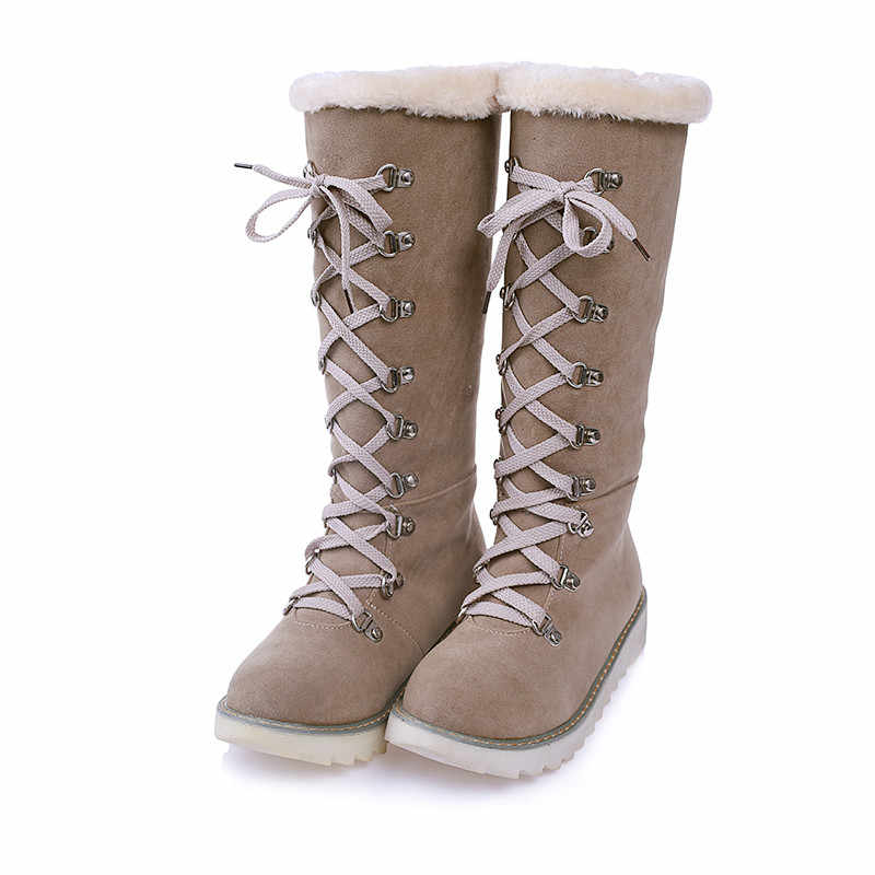 2019 Phụ Nữ Mùa Đông của Giày Tuyết Khởi Động Giữa Ống Nữ Thời Trang Phối Ren Thiết Kế Quai Giày Lông Ấm Áp Ngoài Trời Trượt Tuyết Botas gót thấp Các Nền Tảng