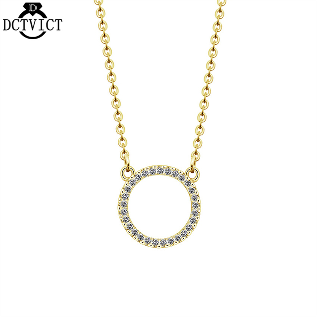 902c8f847608 CZ Circle Necklace Pendant Gold Chains Necklace Simple Geometric Women  Jewelry Open Round Karma Collares Mujer