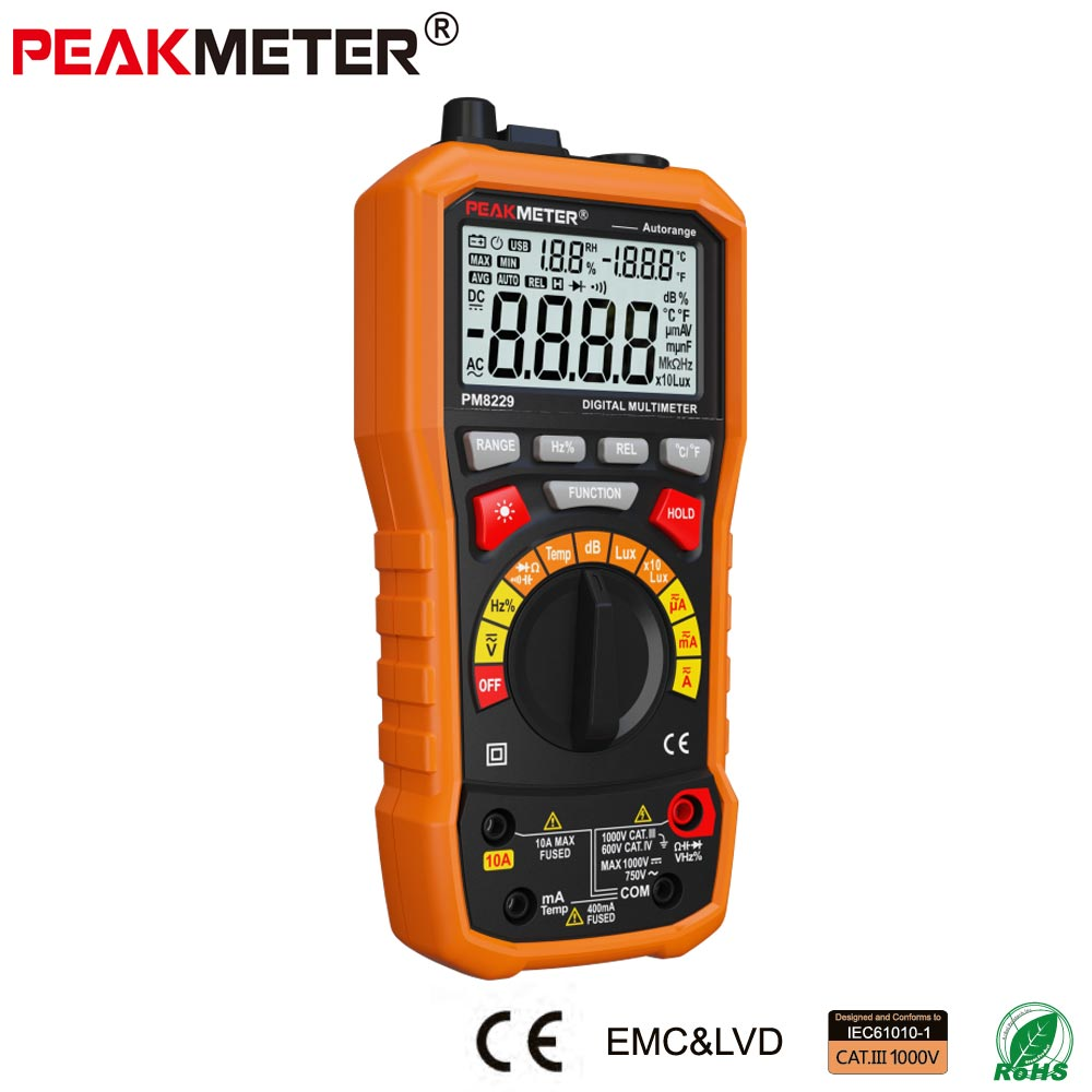 PM8229  New 5 in 1 Auto Range DMM Digital Multimeter with Noise Temperature Luminance Test Function multimetro 1 pcs mastech ms8269 digital auto ranging multimeter dmm test capacitance frequency worldwide store