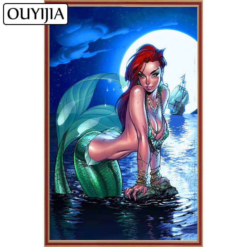 OUYIJIA Siren Mermaid 5D DIY Diamond Painting Beauty Rhinestone Cross Stitch  Animal Embroidery Mosaic Home Decoration 90834b16da04