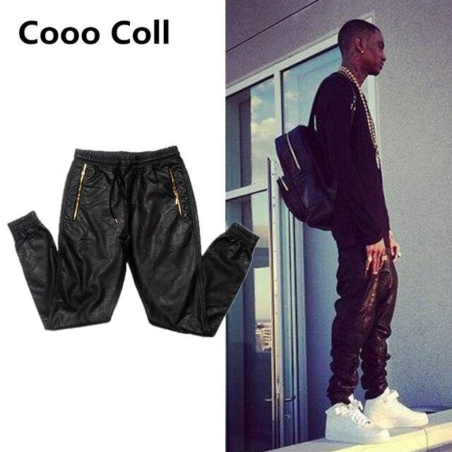 Marca de moda de Los Hombres de hip-hop pantalones collarino haz pies pantalones de moda casual de cuero negro Basculador pantalones de Ciclista cintura Cooo Coll