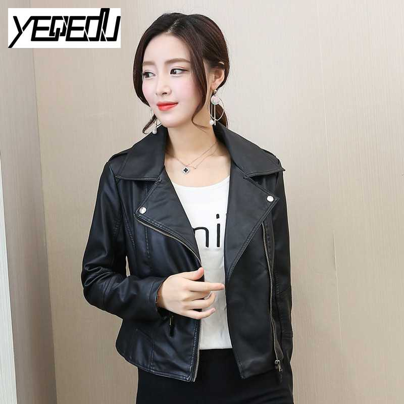 #1019 Spring Autumn 2018 PU Faux Leather jacket women Short Chaqueta mujer Slim fit Fash ...