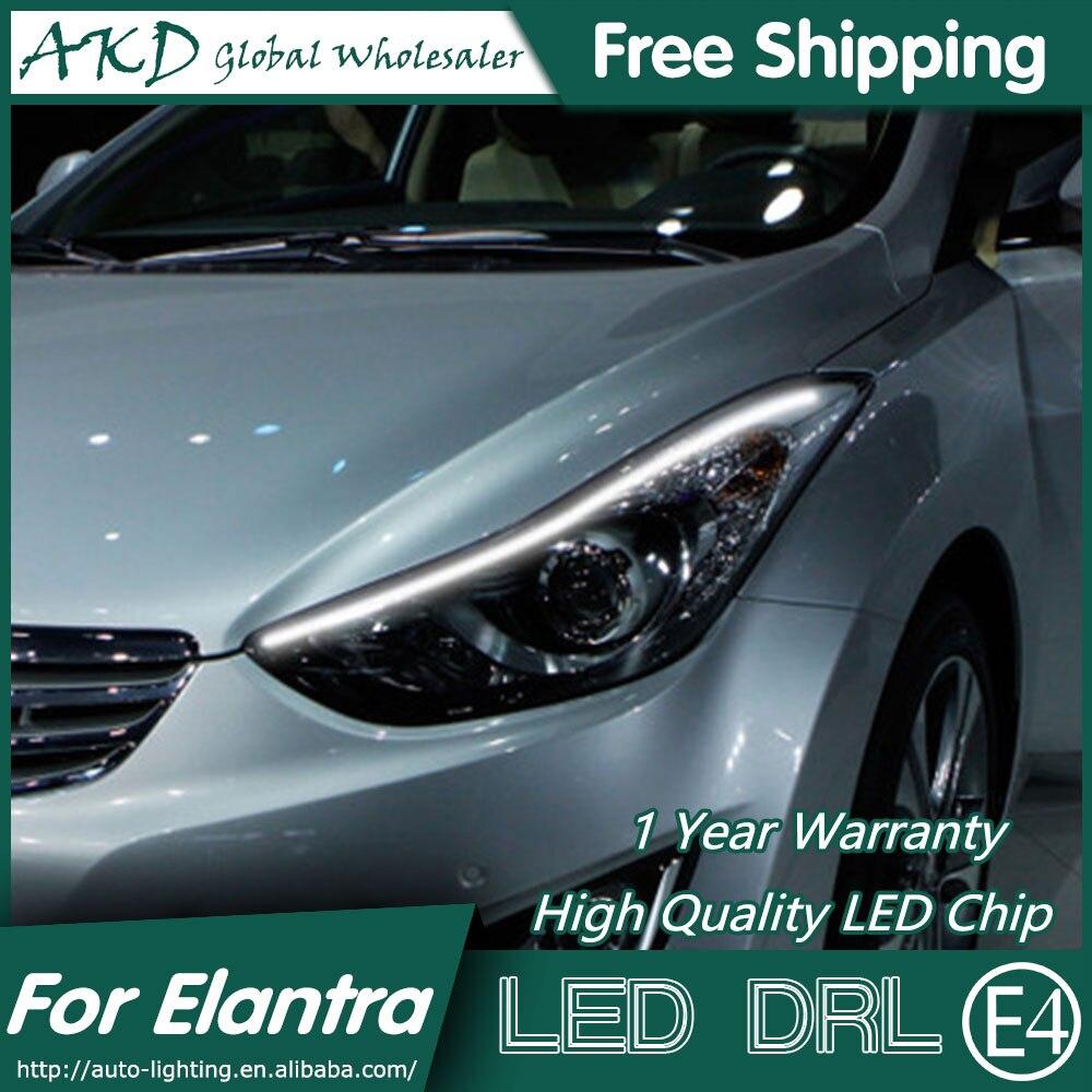 ФОТО AKD Car Styling LED DRL for Hyundai Elantra 2011-2015 New Elantra MD Eye Brow Light LED External Lamp Signal Parking Accessories