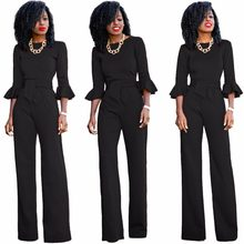 Sexy Bodysuit Body Feminino Bodysuit Women Polyester Cotton Loose Ruffles Real 2019 New Style Womens Wide Leg Sexy Jumpsuit(China)