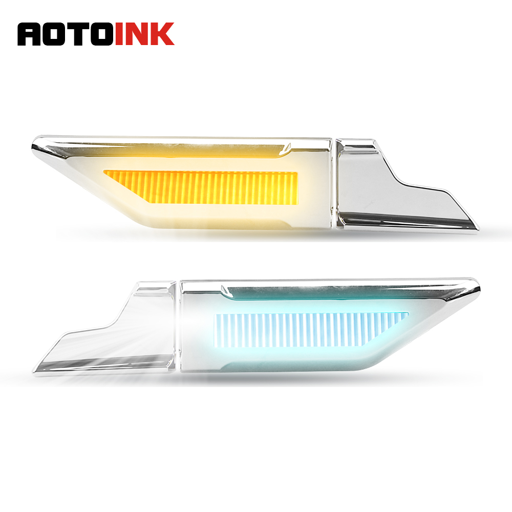 AOTOINK 3 Functions LED Car Side DRL Daytime Running Light Turn Signal Car Reversing Anti collision