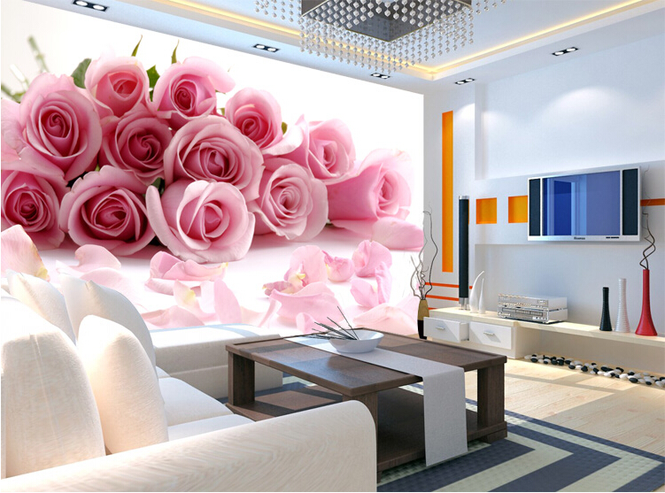 photo wallpaper Romantic painting Pink Stereoscopic rose flower ...