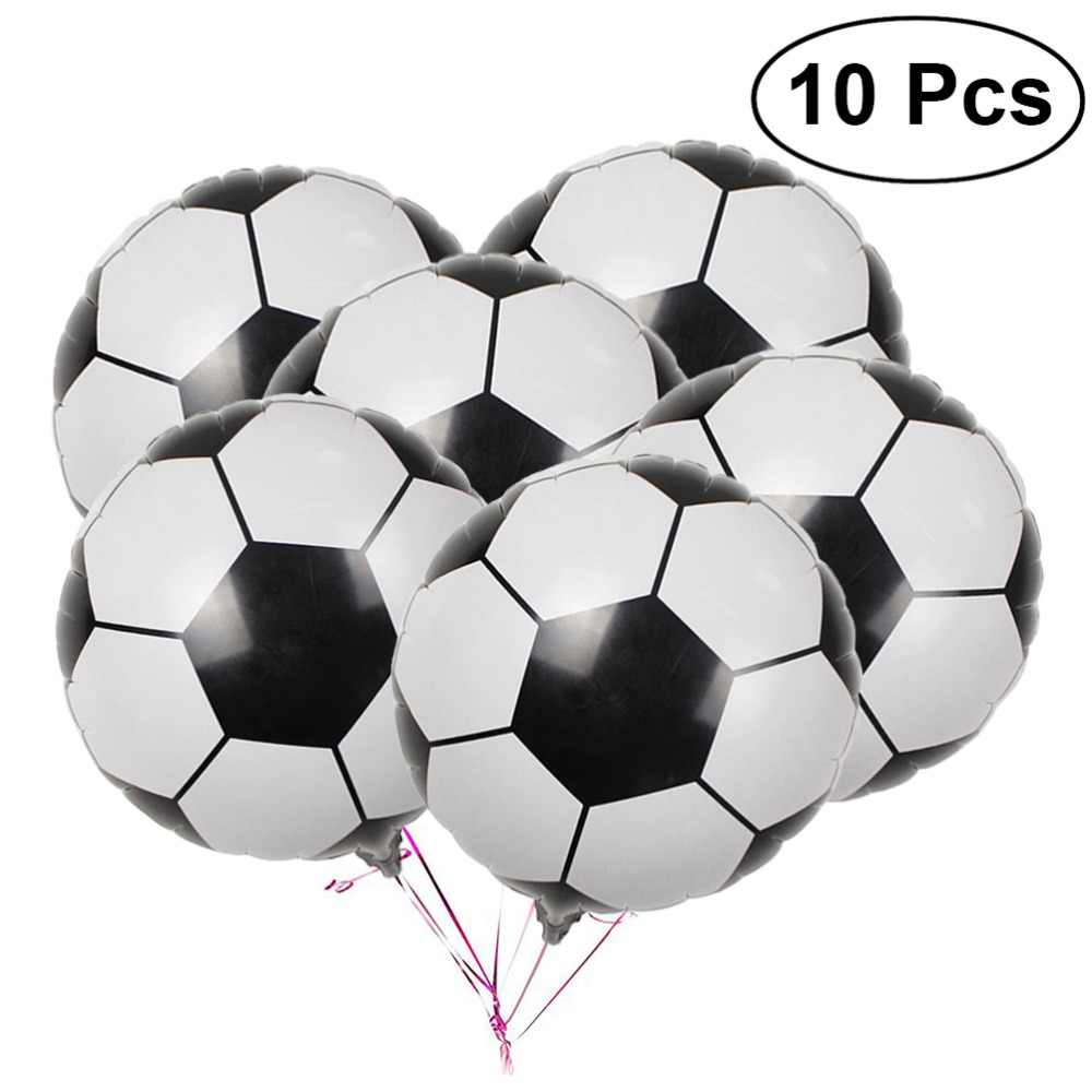 10Pcs 18 Inch Football Aluminum Foil Balloon Soccer Metallic Mylar Balloons Decoration for Birthday Party