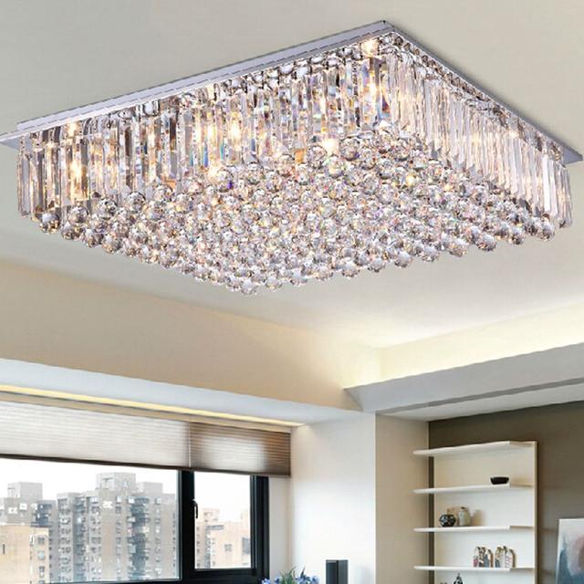 Unique Rectangular Dining Room Chandeliers: Modern Led Dining Room Chandelier Large Crystal Lamp