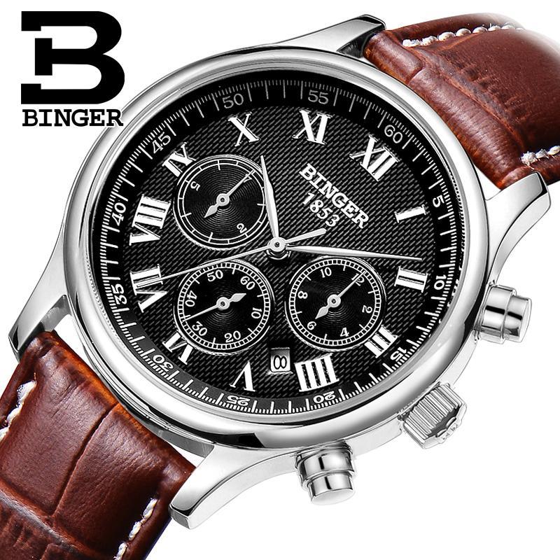 Switzerland mens watch luxury brand Wristwatches BINGER Mechanical Wristwatches leather strap Waterproof B6036-6Switzerland mens watch luxury brand Wristwatches BINGER Mechanical Wristwatches leather strap Waterproof B6036-6