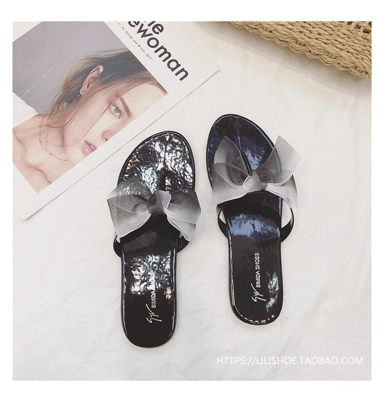 6bcaff3283841 Bohemian mixed color silk bow sandals women T strap flip flops ...