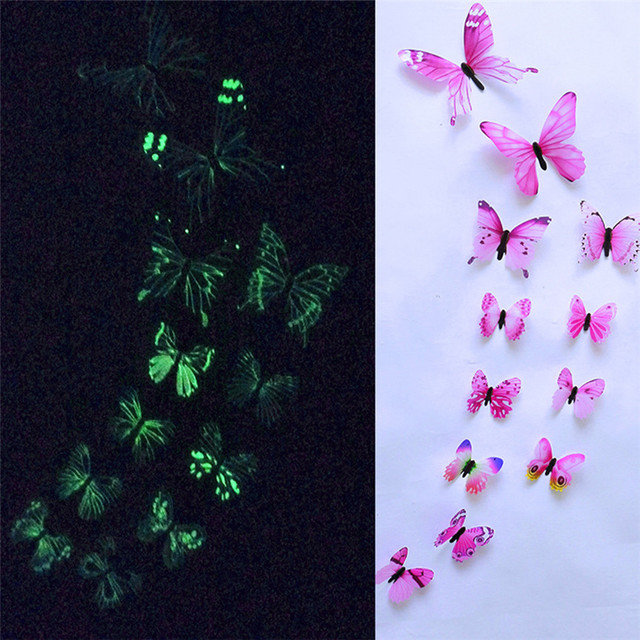 12pcs Butterfly Wall Sticker Luminous Butterfly Design Decal Art Wall Stickers Room Magnetic Home Decor Oct#3