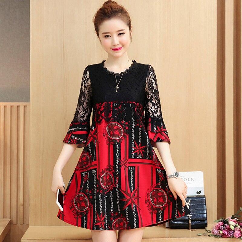 2018 summer women loose chiffon dresses ruffles sleeved lace patchwork loose fashion dresses plus size 4XL fashion clothing