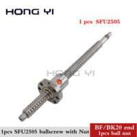 2019 BallScrew SFU2505 300 800 850 900 1000 mm for cnc Parts ball screw C7 with 2505 flange single ball nut BK/BF20 end machined