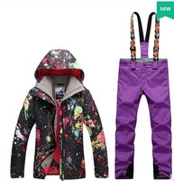 Women S Snowboarding Suit Female Riding Climbing Ski Suit Black Graffiti Ski Jacket And Purple Suspender