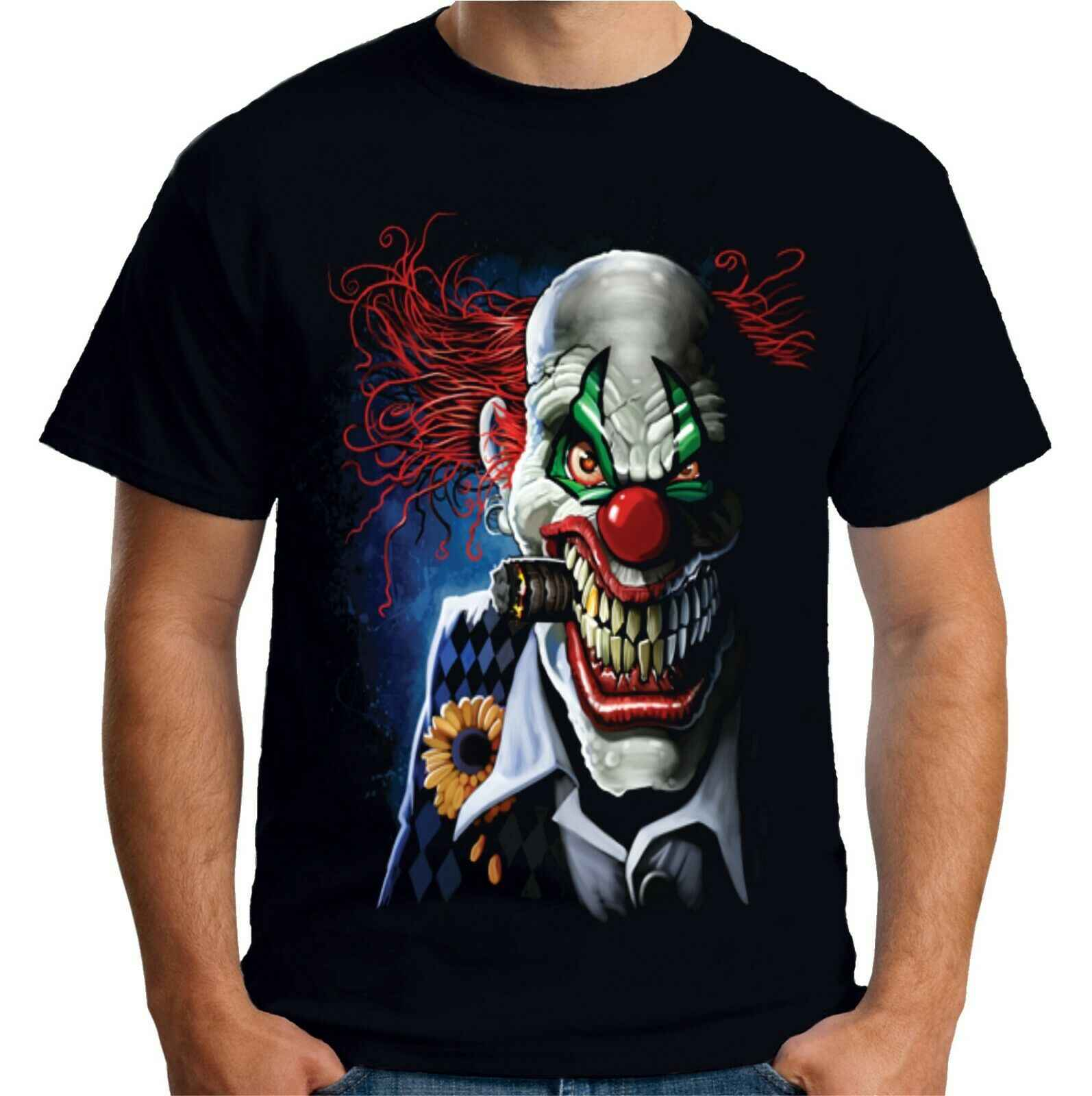 Мужские футболки с принтом злой клоун Футболка Джокер цирк Goth Horror Gothic Funny A18008