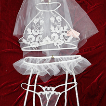 02b0eb410b909 Bridal Honey Temptation Transparent Wedding Lingerie Sexy Lace Mesh  Embroidery Pajamas Bra Panties Garter Underwear Set