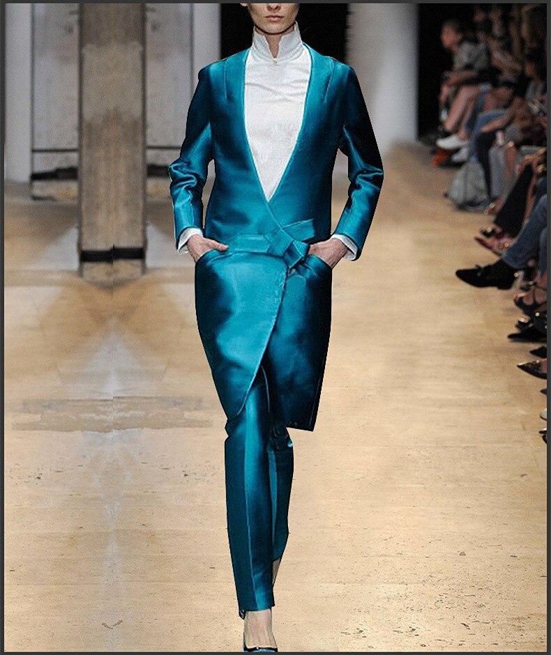 New Autumn Feminine Bowknot Business Set Bright Blue Long Blazers Pants Suits Office Work Two Piece Sets Women Suits