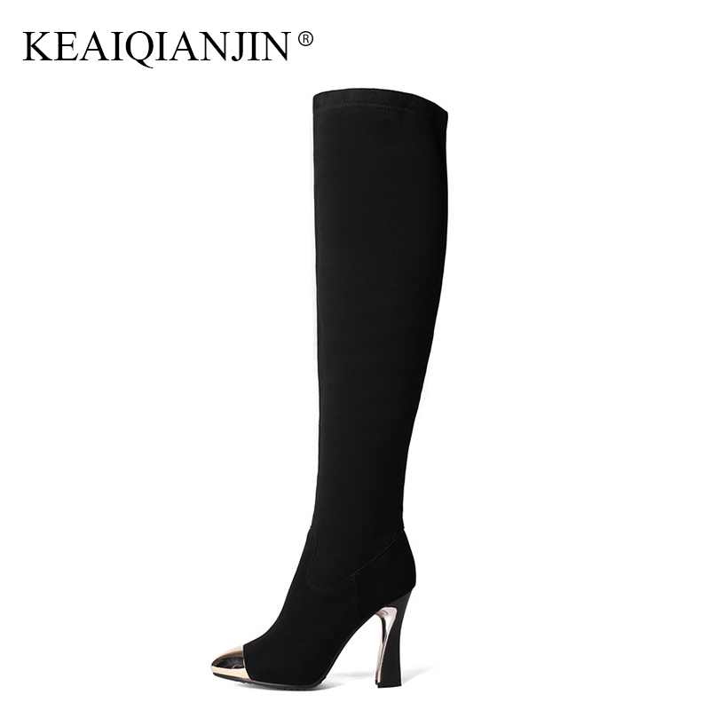 KEAIQIANJIN Woman Genuine Leather Over The Knee Boots Black Autumn Winter Red High Heeled Shoes Metal Decoration Knee High Boots keaiqianjin black high heeled shoes autumn winter rivet lace up knee high boots woman genuine leather over the knee boots 2018