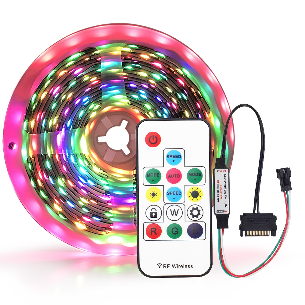 PC Case LED Strip 1Meter with Sata RF controller WS2811 <font><b>WS2812B</b></font> Pixel Strip <font><b>5050</b></font> RGB Magic color IP20 No waterproof image