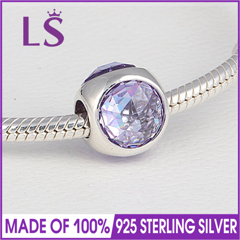 LS High Quality 100%Real 925 Silver Lavender Radiant Droplet Charm Beads Fit Original Bracelets Pulseira Encantos.Fine Jewlery.J