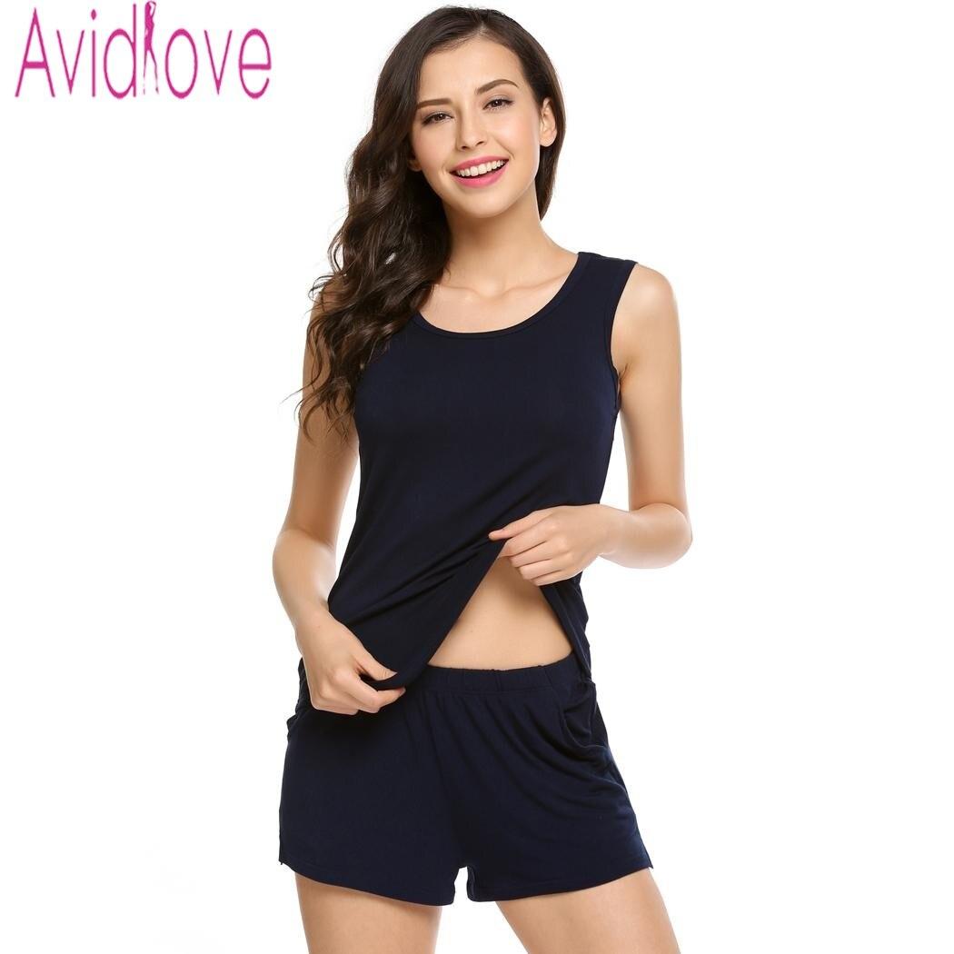 Avidlove 2017 Women Pajamas Set Round Neck Sleeveless Pyjamas women Rayon Silk Sleepwear Pajamas Shorts Set Pajamas for Women ...