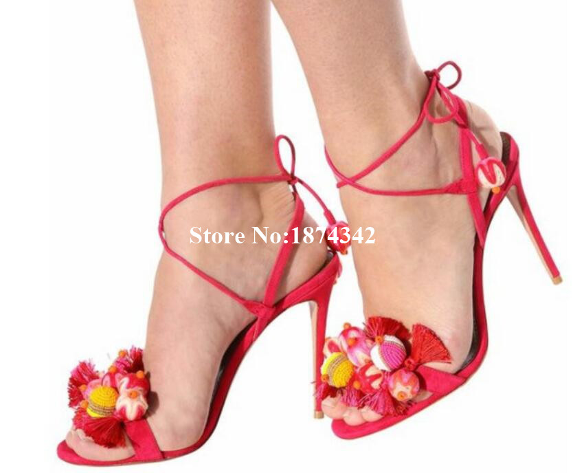 Fashion Newest Mixed Color Flower Sample Sexy Thin High Heel And Open Toe Lace-up Shoes Party Women Sandals Two ColorFashion Newest Mixed Color Flower Sample Sexy Thin High Heel And Open Toe Lace-up Shoes Party Women Sandals Two Color