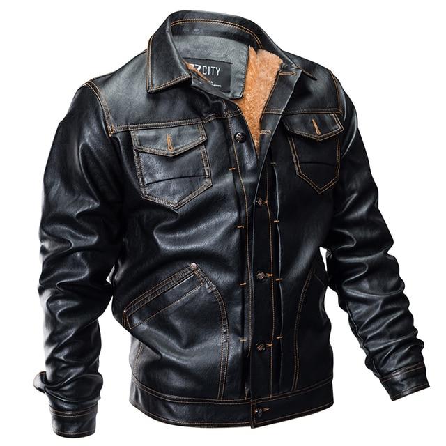 1432fd60fe9 New Winter Pilot Leather Bomber Jacket Men Military Autumn Thick Warm Multi-Pocket  Flight Faux Jacket Male Fleece Coat Outwear