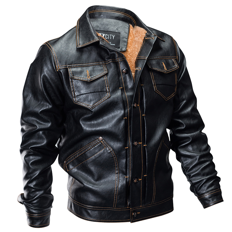 New Winter Pilot Leather Bomber Jacket Men Military Autumn Thick Warm Multi-Pocket Flight Faux Jacket Male Fleece Coat Outwear