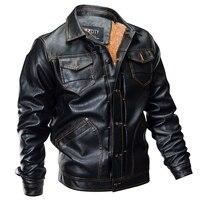 New Winter Pilot Leather Bomber Jacket Men Military Autumn Thick Warm Multi Pocket Flight Faux Jacket Male Fleece Coat Outwear