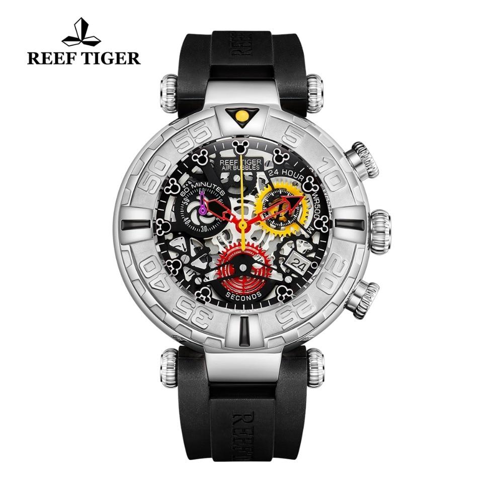 Récif tigre/RT nouveau Design Top marque hommes montres squelette Sport montres bracelet en caoutchouc de luxe Transparent grande montre RGA3059-S