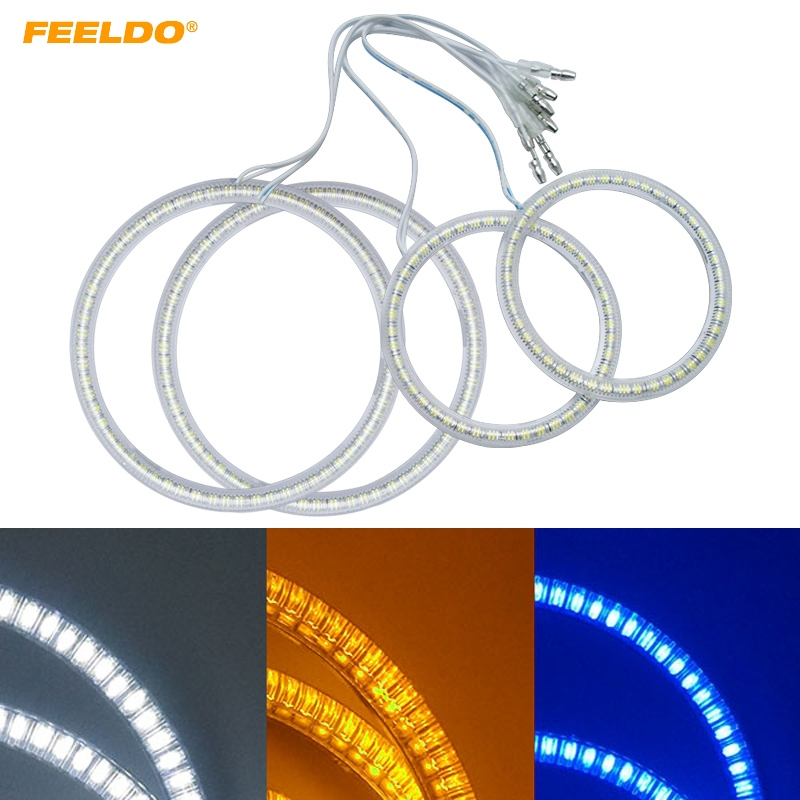FEELDO 1Set For Lada Kalina 1119 3-Color Car LED Halo Rings Angel Eyes DRL Head Lamp Light #AM1166