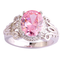 lingmei Gorgeous Lady Pink Topaz 925 Silver Ring Women Engagement Wedding Jewelry Size 6 7 8 9 10 Free Shipping Wholesale