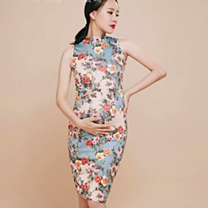 Maternity Dress For Photo Shoot Flowers Chinese style ...