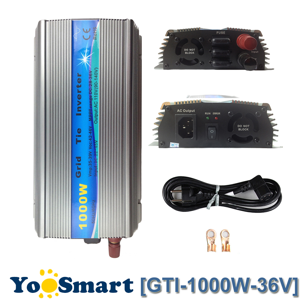 PowMr 1000W MPPT Pure Sine Wave Inverter 36VDC(20-45VDC) Input 110VAC or 220VAC Output 50Hz/60Hz On Grid Tie Inverter