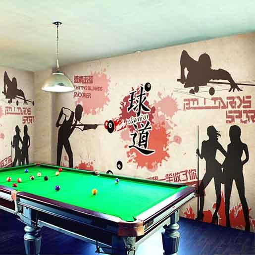 Custom Wall Mural Exercise Gym Table Tennis Basketball Game Mural Leisure Entertainment Room Bar Ktv Graffiti