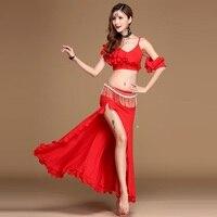 Belly Dance Suits Women Performance Show Belly Dance Set Senior Bra Top Skirt Waistband Handmade Belly Dance Set D08