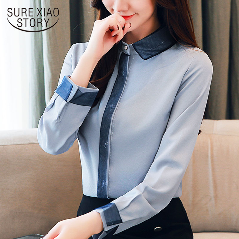 blusas mujer de moda 2020  womens tops and blouses Chiffon   Office Lady  Solid  Turn-down Collar  women blouses Button 1738 50