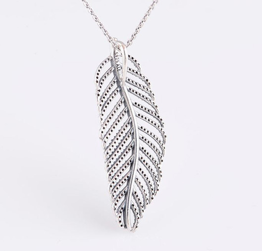 Aliexpress buy feather pendant necklace 100 925 sterling feather pendant necklace 100 925 sterling silver jewelry for women free shipping mozeypictures Images