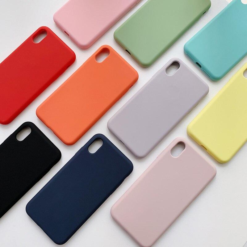 Capa De Silicone líquido para iphone XS Max XR XS Anti-bater à prova de choque caso de silício Para O iphone 8 7 6 6 s além de caixa de proteção