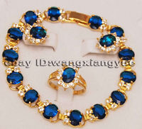 Fashion Jewelry Blue Zircon Inlay Link Bracelet earrings Ring Set AAA jade Crystal Jewelry