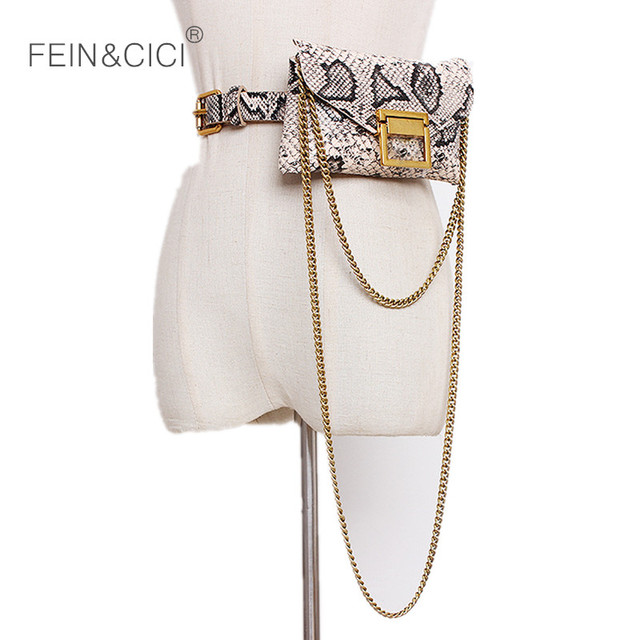 Fanny Pack chains belt bag animal print serpentine waist bag women luxury brand leather 2018 new hight quality drop shipping