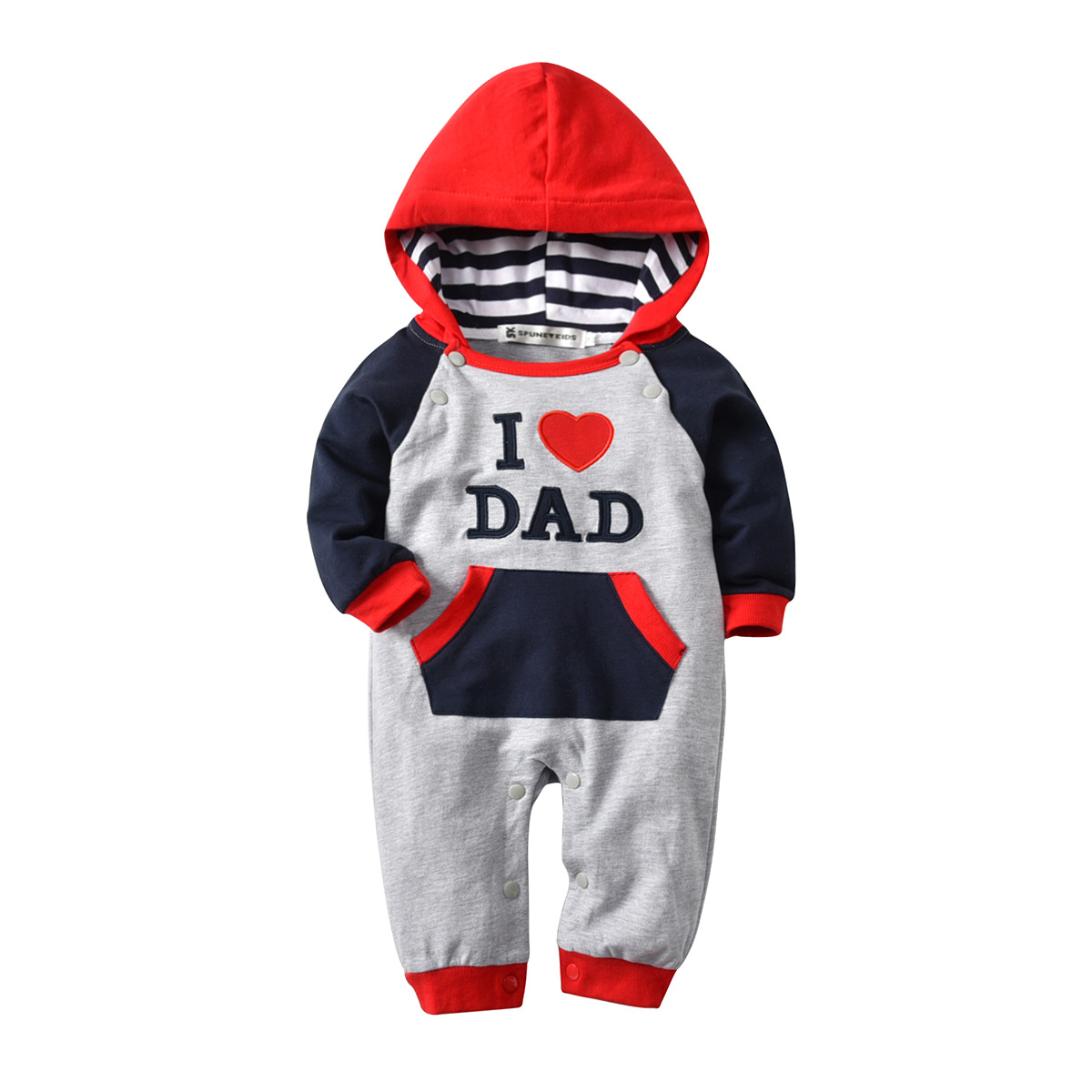 Costume for Baby 2018 Infant Clothes Daddys Girl Grandma I Love Dad I love Mom Long Sleeve Hooded Newborn Rompers Baby Winter in Rompers from Mother Kids